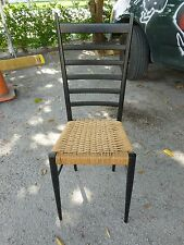ITALIAN GIO PONTI STYLE EXAGGERATED LADDER BACK CHAIR W WOVEN SEAT