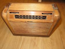 vintage 1946 Philco Radio wood & leather case with pleated roll top wood shade