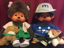 "2 Sekiguchi MONCHHICHI Dolls 7"" Boy & Girl w/Puppy Dogs READ DESCRIPTION"