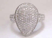 Fine PEAR SHAPED MICRO PAVE DIAMOND RING 18KT WHITE GOLD