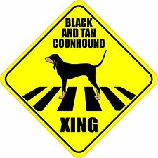 """Black And Tan Coonhound Xing Crossing Road Sign 5"""" Dog Silhouette Sticker"""