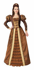 WOMENS ADULT #COSTUME GOLDEN QUEEN BROWN HEADBAND MEDIEVAL FANCY DRESS PARTY