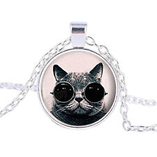 Vintage Cool Cat Cabochon Tibetan Silver Glass Chain Pendant Necklace HG141