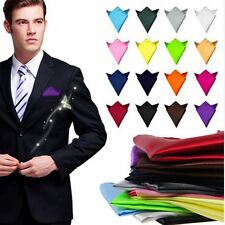 Blue Pocket Square Handkerchief Satin Solid Plain Mens Wedding Party Hanky New