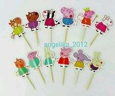 12 x PEPPA PIG Cake Picks Cupcake Toppers BIRTHDAY PARTY DECORATION Rainbow
