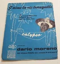 Partition sheet music DARIO MORENO : J'aime la Vie Tranquille *50's Calypso