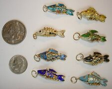 6 New Vintage Cloisonne Wiggly Fish Necklaces ~Circa 1990's ~ LOWEST ON EBAY ~