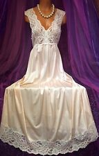 Pink Shadowline Vintage Nylon Gown Long Peignoir Sheer Lace Sweep Negligee S M