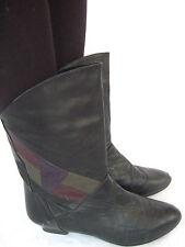Vintage Lederstiefel 80er 39 UK 6 Stiefel Boots Ankle Booties Mehrfarbig