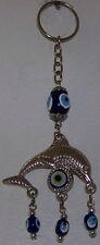 "CLEARANCE 5"" Long Turkish Dolphin/Fish Evil Eye Charm Keychain"