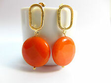 Ohrringe Ohrstecker 750er Gold 18K vergoldet mit Edel orange Jade , Catia Levy