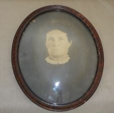 OLD Antique Oval Frame with Bubble Convex Glass and Old Photo of Woman