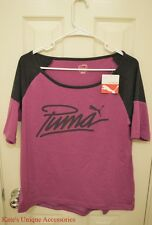 Puma Fashion Tee Vivid Viola & Dark Gray Heather Medium Women's T Shirt NWT $30