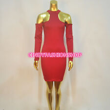 New Women Vintage Bandage Long Sleeve Party Club Body con Evening Dress