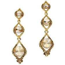 Champagne gold diamante crystal earrings dangly long glitzy proms parties 0337