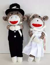 Bride & Groom Sock Monkey Christmas Ornaments Black White Red Brown 6-7 inches