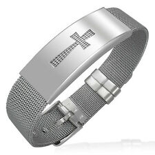 Stainless Steel Cross Chastity Mesh Silver Tone Womens Bracelet