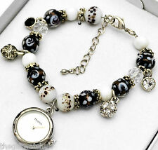 Womens New Henley Black & White Beads & Sparkling Crystal Charms Bracelet Watch