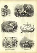 Old Engravings Ancient Coracle Anglo-norman Ship Thames State Barge