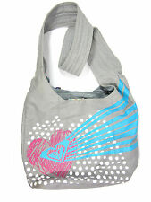 Roxy Heart Canvas Sling Tote Bag Purse Gray W. Free Extra Canvas Tote Bag