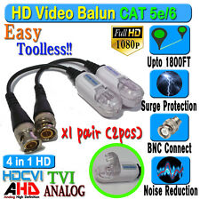 HD Balun a Pair 2pcs CCTV BNC Video CAT5e 6 Surge Protect 1080P 720P 960H