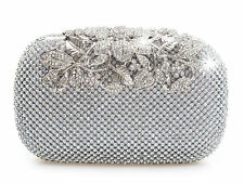 Unique Clasp Silver Diamante Crystal Diamond Evening bag Clutch Purse Party Prom