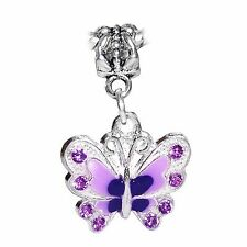 Butterfly Lavender Enamel Purple Rhinestone Dangle Charm for European Bracelets