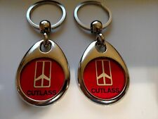 OLDSMOBILE CUTLASS KEYCHAIN 2 PACK DOUBLE SIDED RED
