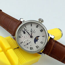 42mm Parnis moon phase display GMT white dial hand winding movement men's watch