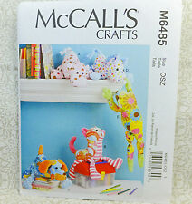 McCall's 6485 Crafts 5 Designs Dog Horse Cat Frog Hippo Cloth Toy Sewing Pattern