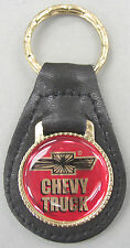 Chevrolet CHEVY TRUCK Black Leather Goldtone Keyring 1960 1961 1962 1963 1964