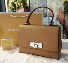 NWT Michael Kors $268 CALLIE Sm Saffiano Leather Messenger Satchel bag DK KHAKI