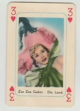 1959 MAPLE LEAF GUM ZSA ZSA GABOR MOVIE FILM STAR 3 OF HEARTS PLAYING CARD