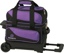 Ebonite Transport 1 Ball Roller Bowling Bag with Wheels Color is Purple