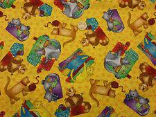 Children's Fabric 'Krafty Kitties' Cats Sewing and Knitting Fat Quarter