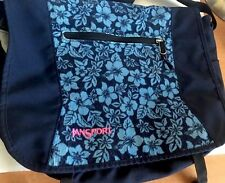 Jansport Messeger Bag Shoulder Laptop Book Cross body Purse Blue Flowers Canvas