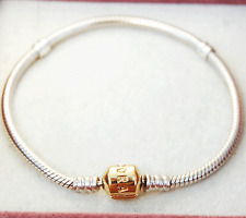 Gen Pandora 21cm Sterling Silver Bracelet with 14ct. gold lock - 590702HG