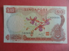 $10 Orchid Singapore Dollar Note A/73 626936 GKS