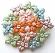 Vintage Enamel Pastel Brooch Flower Pin With Rhinestones Pink Purple Green Blue
