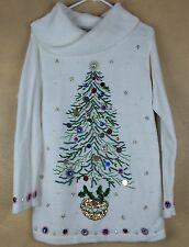 Ugly Christmas Sweater Holiday Tunic Embellished Victoria Jones S