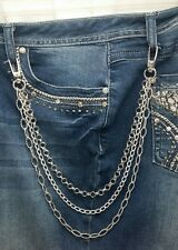 Handmade Biker Chick Bling Hip Chain Booty Chain Triple Strand with Swivel Clips
