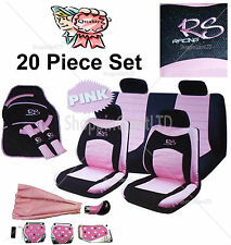 20PC Girly Pink RS Racing Car Seat Steering Wheel Covers Mat Gear Knob Pedal Set