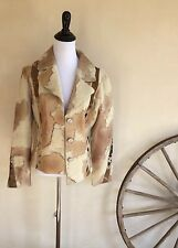 D2K Very Unique Shearling Fur Pony Hair Leather Cream Tan Lined Worn Once M