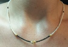 Faceted 3ct Black diamond white freshwater seed pearls necklace 14k gold flower
