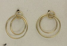 BJC® 9ct Yellow Gold Circle Design Drop Earrings Butterfly Backs Brand New