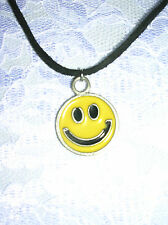 NEW FUN CLASSIC YELLOW SMILEY FACE PEWTER PENDANT ADJ CORD NECKLACE