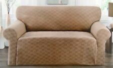 CLOSEOUT---CHECKERBOARD SLIPCOVER FOR LOVESEAT--BLACK--STRETCH-COMES IN 5 COLORS