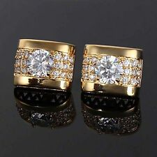 Gold White Crystal Silver Mens Wedding Party Gift Shirt Cufflinks Cuff links
