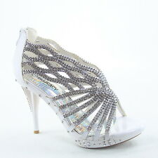 Women's Sexy Bridal Rhinestone Strappy High Heel Evening Sandal Shoes Size 5 -10