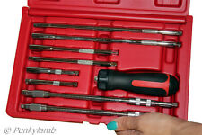 "9pc 1/4"" inch Drive Ratchet Driver Set Interchangeable for Sockets and Bits"